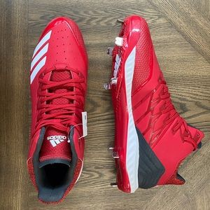Red adidas icon bounce mid cleats